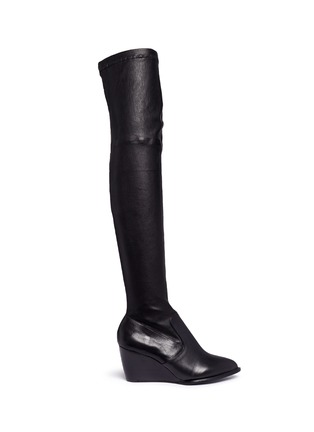 Main View - Click To Enlarge - Robert Clergerie - 'Oman' wedge leather thigh high boots