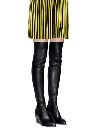 Figure View - Click To Enlarge - Robert Clergerie - 'Oman' wedge leather thigh high boots
