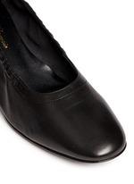'Poket' wood effect heel lambskin leather pumps