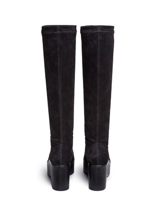 Back View - Click To Enlarge - Robert Clergerie - 'Xotte' stretch suede knee high platform boots