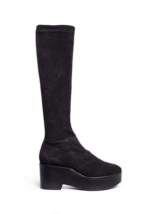 Main View - Click To Enlarge - Robert Clergerie - 'Xotte' stretch suede knee high platform boots