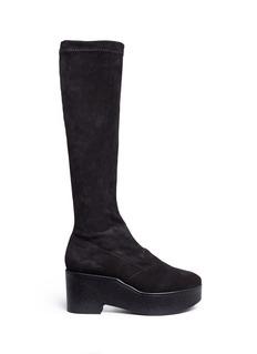Robert Clergerie'Xotte' stretch suede knee high platform boots