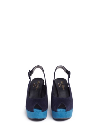 Front View - Click To Enlarge - Robert Clergerie - 'Dylanl' slingback suede platform wedge sandals