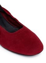 'Poket' wood effect heel suede pumps