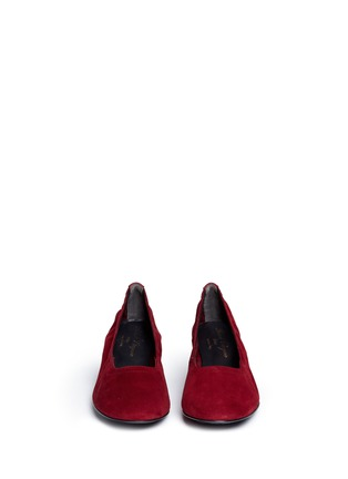 Front View - Click To Enlarge - Robert Clergerie - 'Poket' wood effect heel suede pumps