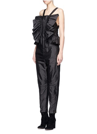 Front View - Click To Enlarge - Chloé - Ruffle trim silk shantung jumpsuit