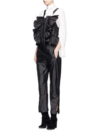 Figure View - Click To Enlarge - Chloé - Ruffle trim silk shantung jumpsuit