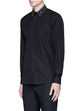 Front View - Click To Enlarge - Givenchy - Embellished collar cotton shirt
