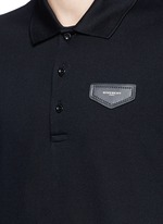 Leather logo patch polo shirt
