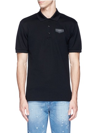 Main View - Click To Enlarge - Givenchy - Leather logo patch polo shirt