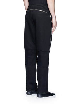 Back View - Click To Enlarge - Givenchy - Leg zip bonded jersey sweatpants