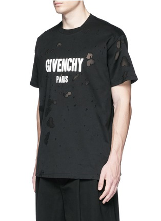 Front View - Click To Enlarge - Givenchy - Logo print distressed T-shirt