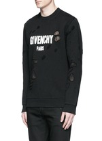 Logo print distressed sweatshirt
