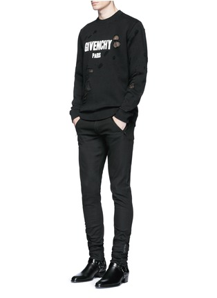 Figure View - Click To Enlarge - Givenchy - Logo print distressed sweatshirt