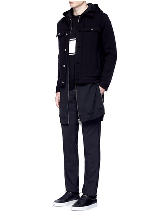 Figure View - Click To Enlarge - Givenchy - Double layer wool hood parka