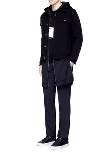 GivenchyDouble layer wool hood parka