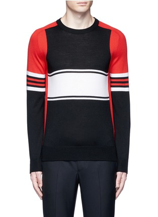 Main View - Click To Enlarge - Givenchy - Colourblock stripe Merino wool sweater