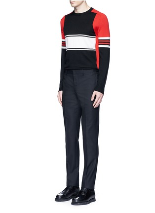 Figure View - Click To Enlarge - Givenchy - Colourblock stripe Merino wool sweater