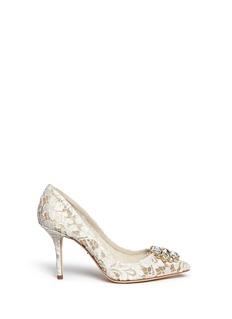 Dolce & Gabbana'Bellucci' jewel brooch Taormina lace pumps