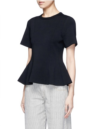 Front View - Click To Enlarge - T By Alexander Wang - Double knit jersey flared top
