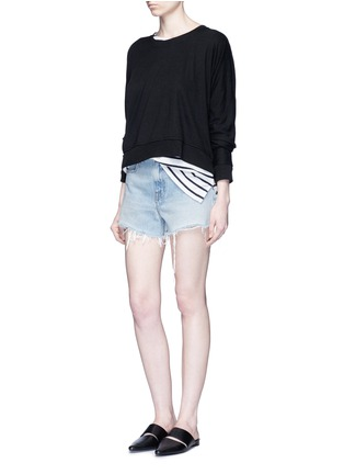 Figure View - Click To Enlarge - T By Alexander Wang - Enzyme wash circular dip hem sweatshirt