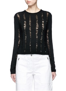 T By Alexander Wang Distressed dropped stitch Merino wool sweater
