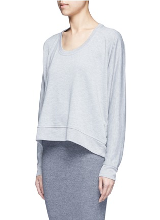 Front View - Click To Enlarge - T By Alexander Wang - Enzyme wash circular dip hem sweatshirt