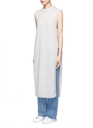 Front View - Click To Enlarge - T By Alexander Wang - Wool-cashmere long dickie sweater vest