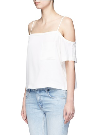 Front View - Click To Enlarge - T By Alexander Wang - Chest pocket crepe off-shoulder top