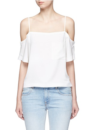 Main View - Click To Enlarge - T By Alexander Wang - Chest pocket crepe off-shoulder top