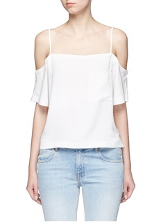 T By Alexander Wang Chest pocket crepe off-shoulder top