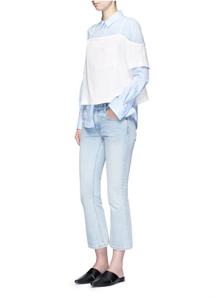 Figure View - Click To Enlarge - T By Alexander Wang - Chest pocket crepe off-shoulder top