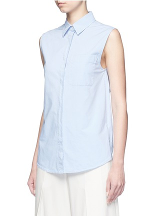 Front View - Click To Enlarge - T By Alexander Wang - Surplice back poplin sleeveless shirt