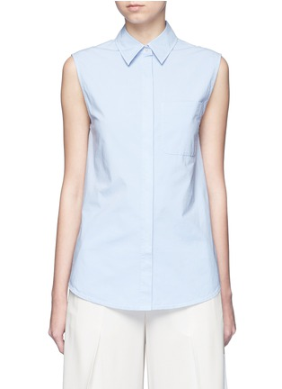 Main View - Click To Enlarge - T By Alexander Wang - Surplice back poplin sleeveless shirt