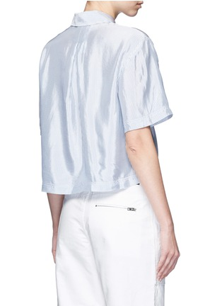 Back View - Click To Enlarge - T By Alexander Wang - Mix stripe washed viscose cropped shirt