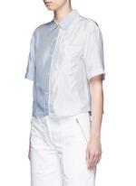 Mix stripe washed viscose cropped shirt