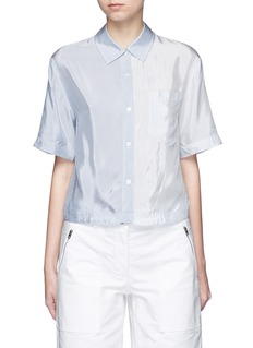 T By Alexander Wang Mix stripe washed viscose cropped shirt