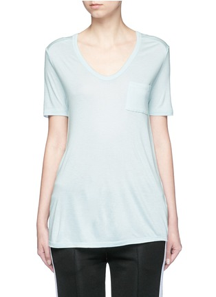 Main View - Click To Enlarge - T By Alexander Wang - Pocket rayon jersey T-shirt