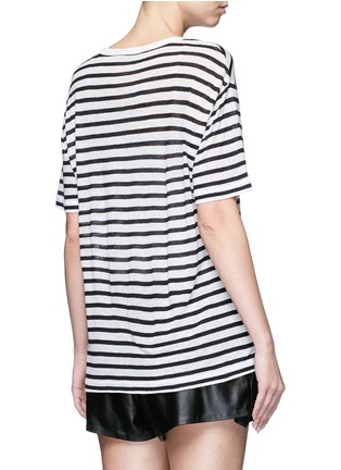 Back View - Click To Enlarge - T By Alexander Wang - Stripe linen blend T-shirt