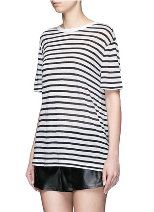 Front View - Click To Enlarge - T By Alexander Wang - Stripe linen blend T-shirt