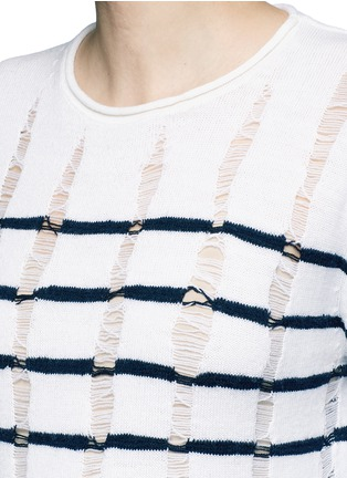 Detail View - Click To Enlarge - T By Alexander Wang - Distressed dropped stitch stripe Merino wool sweater