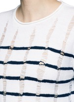 Distressed dropped stitch stripe Merino wool sweater
