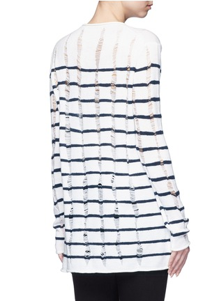 Back View - Click To Enlarge - T By Alexander Wang - Distressed dropped stitch stripe Merino wool sweater