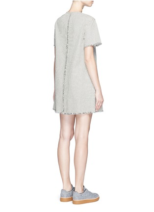 Back View - Click To Enlarge - T By Alexander Wang - V-neck frayed stripe denim dress