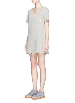Front View - Click To Enlarge - T By Alexander Wang - V-neck frayed stripe denim dress