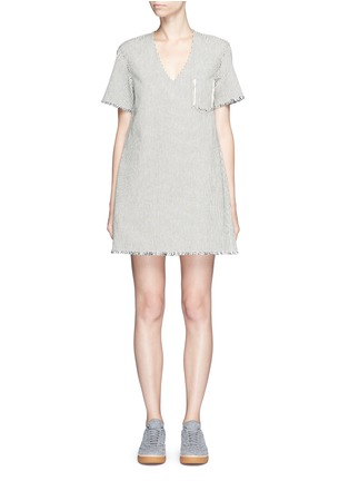 Main View - Click To Enlarge - T By Alexander Wang - V-neck frayed stripe denim dress