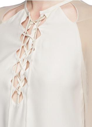 细节 - 点击放大 - ALTUZARRA - BENNY雪纺拼接系带镂空上衣