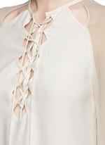 'Benny' chiffon sleeve lace-up crepe blouse