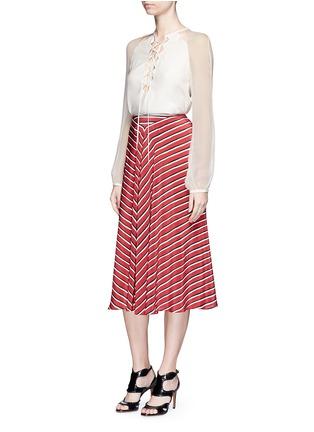 Altuzarra-'Benny' chiffon sleeve lace-up crepe blouse