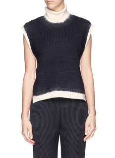 3.1 PHILLIP LIM Turtleneck rib knit wool felt panel sweater